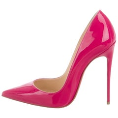 Christian Louboutin NEW Fuchsia Patent Leather Kate High Heels Pumps in Box