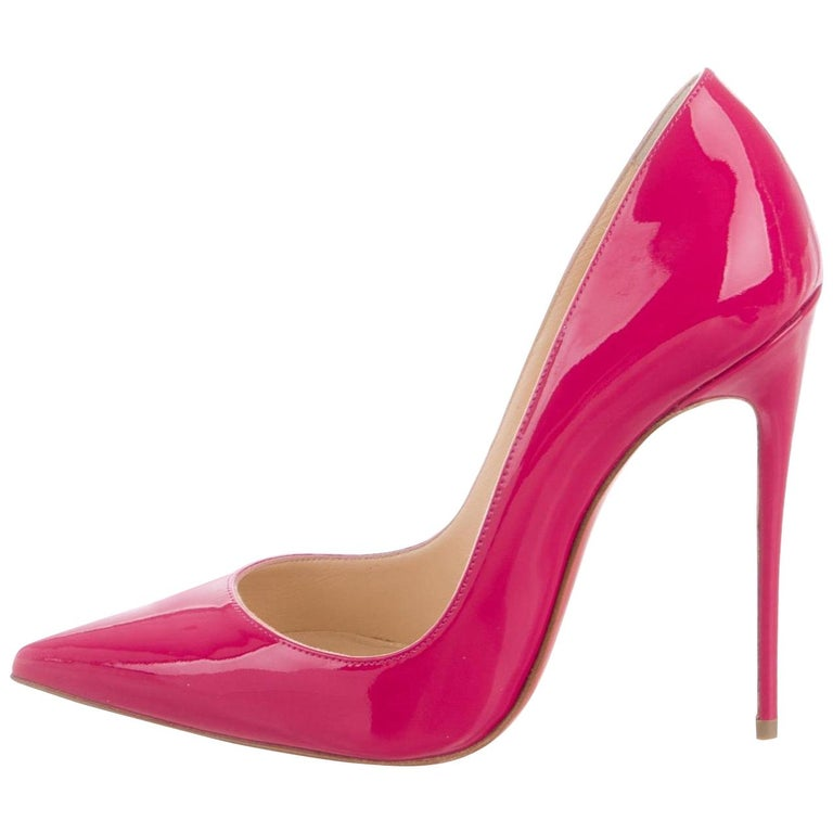 Christian Louboutin NEW Fuchsia Patent Leather Kate High Heels Pumps in Box For Sale