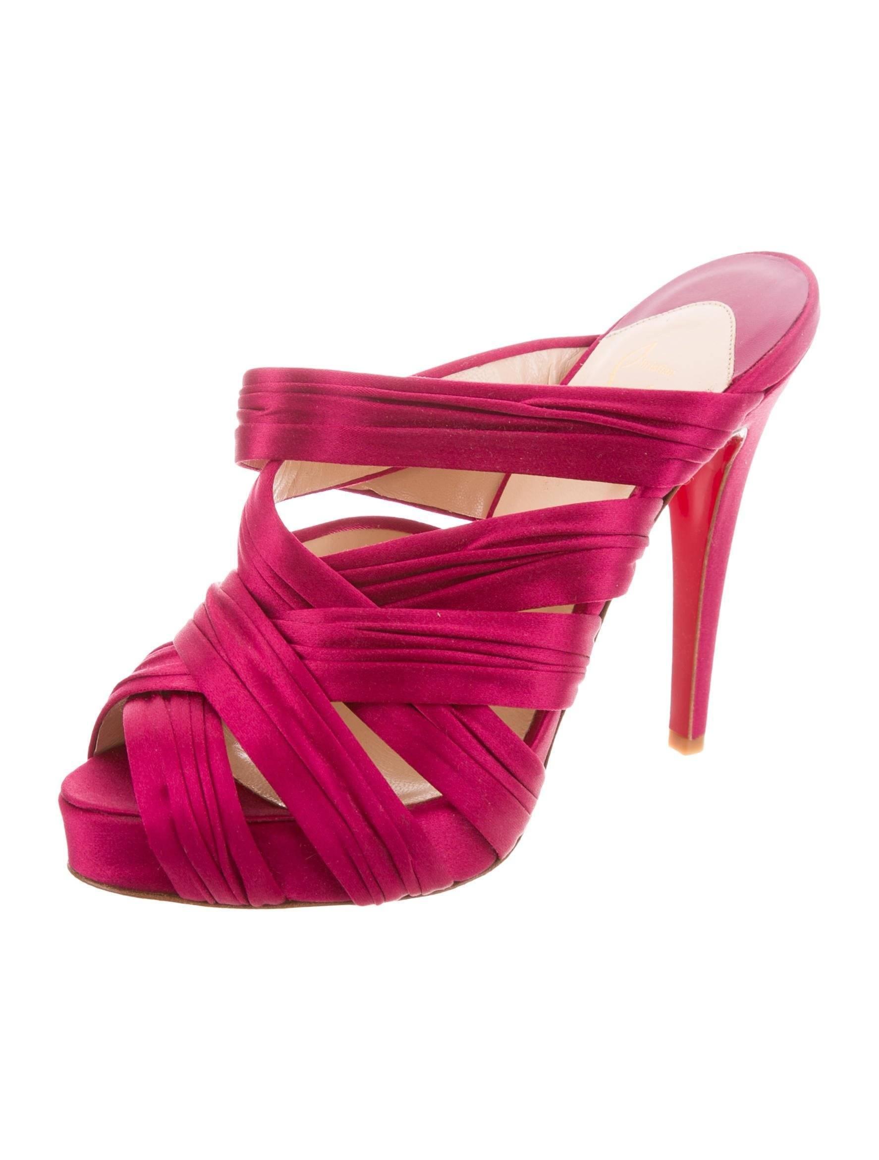 e03bb363aeb Christian Louboutin NEW Fuschia Satin Slide in Evening Sandals Heels at  1stdibs