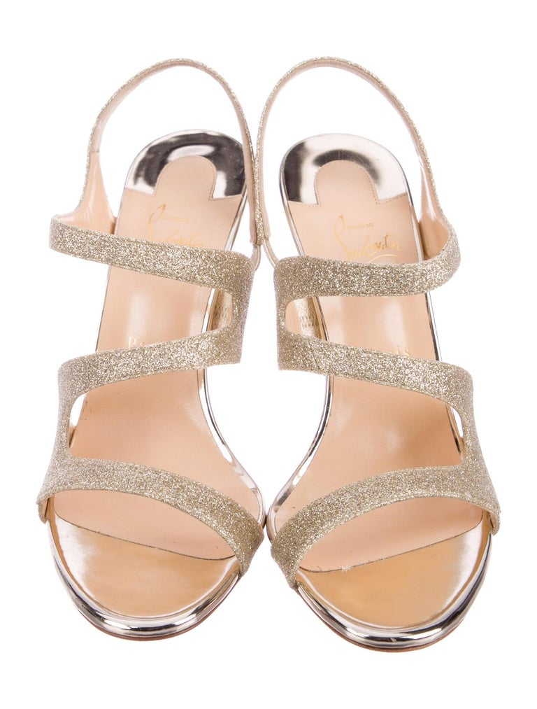 Christian Louboutin NEW Gold Glitter Strappy Sandals Pumps Heels in Box In New Condition For Sale In Chicago, IL