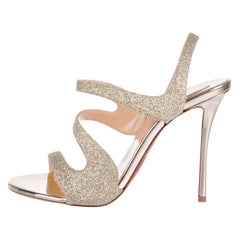 Christian Louboutin NEW Gold Glitter Strappy Sandals Pumps Heels in Box