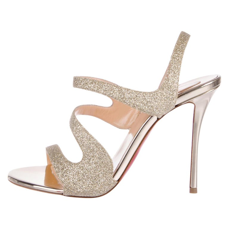 Christian Louboutin NEW Gold Glitter Strappy Sandals Pumps Heels in Box For Sale