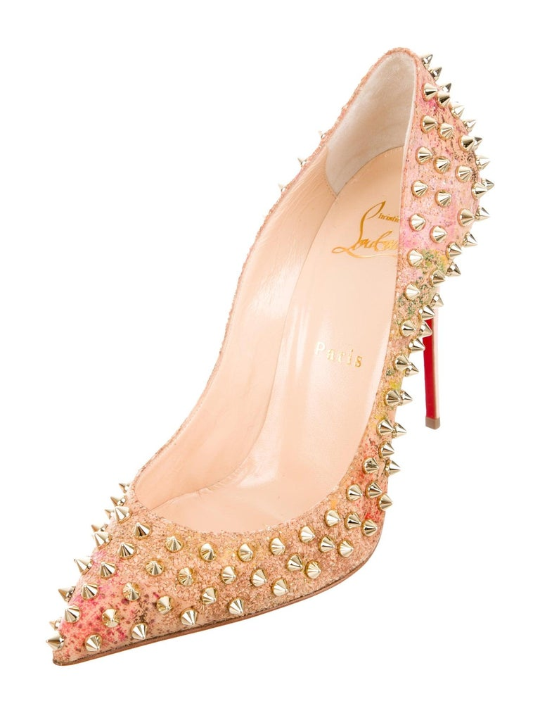 Christian Louboutin NEW Multi Color Cork Gold Stud Evening Heels Pumps in Box  Size IT 38 Cork Gold tone hardware Slip on Made in Italy Heel height 4.25