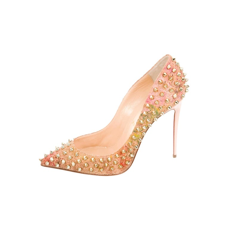 Christian Louboutin NEW Multi Color Cork Gold Stud Evening Heels Pumps in Box