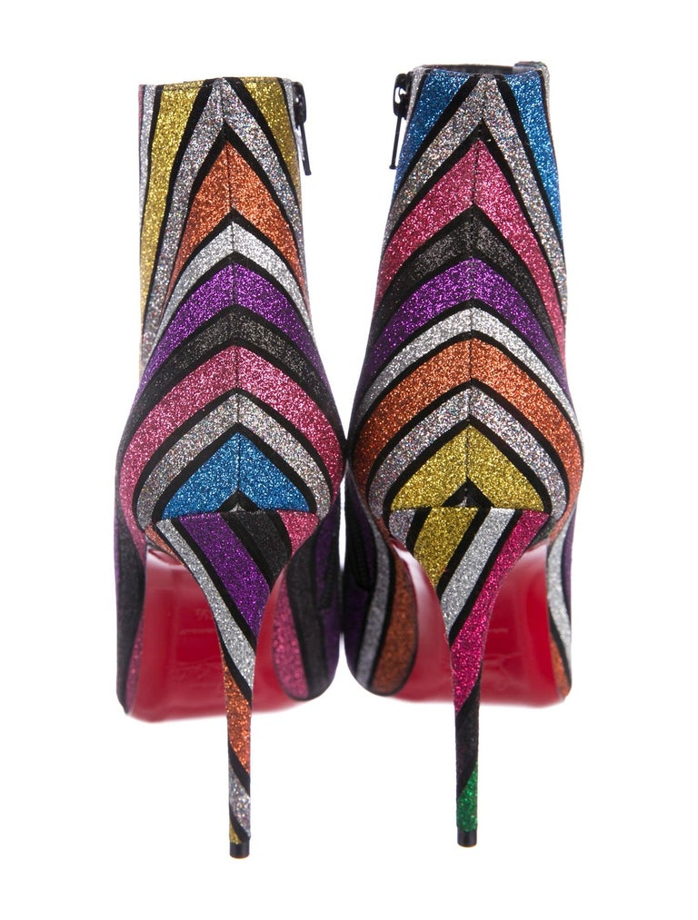 Women's Christian Louboutin NEW Multi Color Glitter Stripe Ankle Booties Boots in Box  For Sale