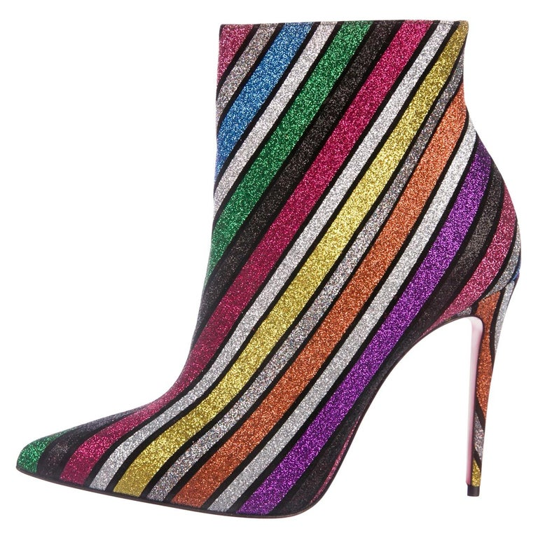 Christian Louboutin NEW Multi Color Glitter Stripe Ankle Booties Boots in Box  For Sale