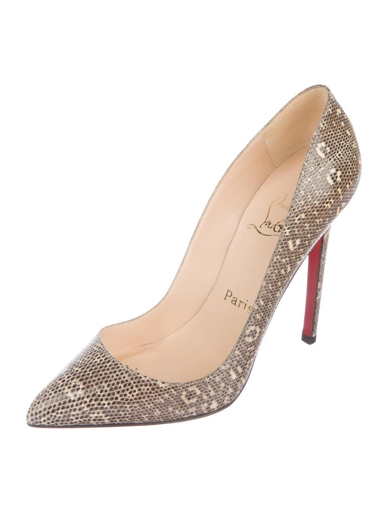 Christian Louboutin NEW Nude Tan Lizard Exotic Leather Pumps Heels   Size IT 36 Lizard  Slip on Made in Italy Heel height 5