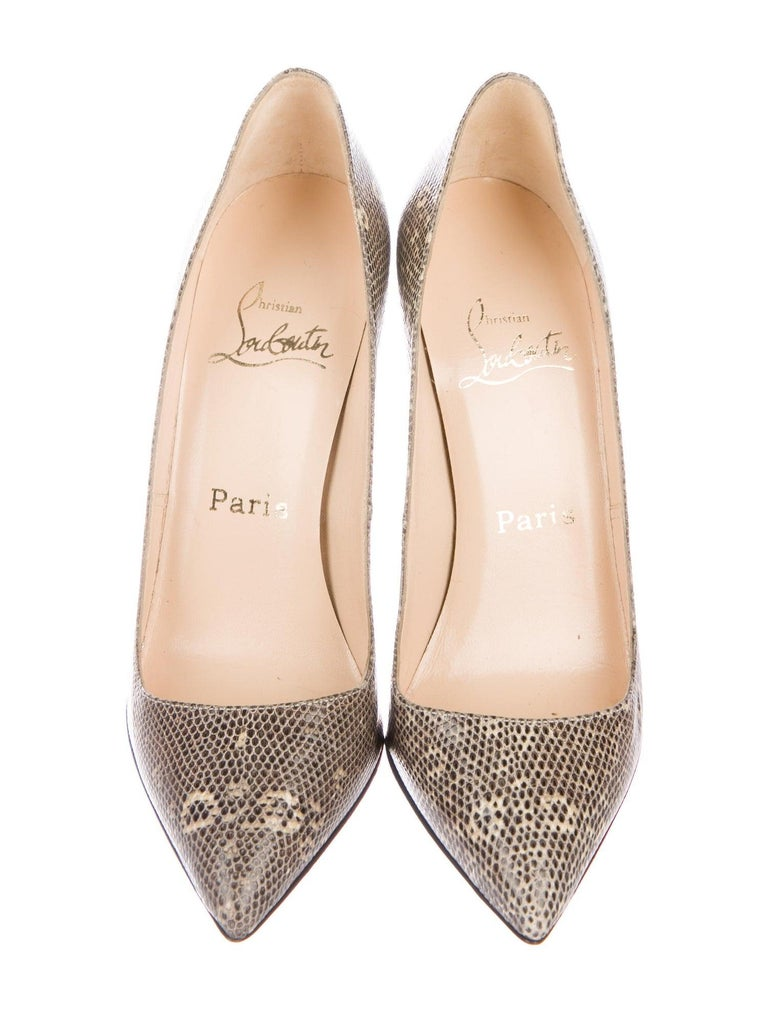 Christian Louboutin NEW Nude Tan Lizard Exotic Leather Pumps Heels  In New Condition For Sale In Chicago, IL