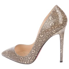 Christian Louboutin NEW Nude Tan Lizard Exotic Leather Pumps Heels