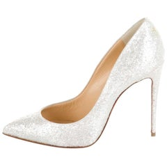 Christian Louboutin NEW Pigalles Snow Winter White Evening Heels Pumps in Box