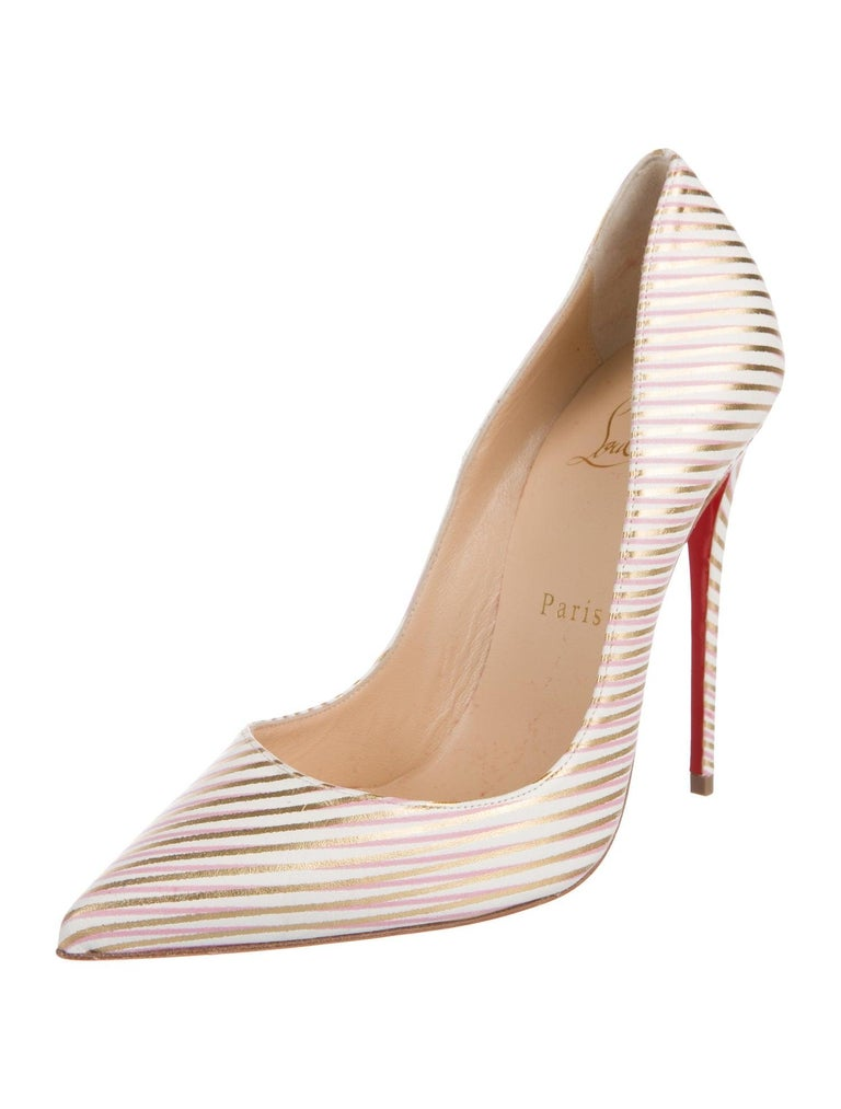 Christian Louboutin NEW Pink White Gold Stripe Leather Pumps Heels  Size IT 37 Leather Slip on Made in Italy Heel height 4