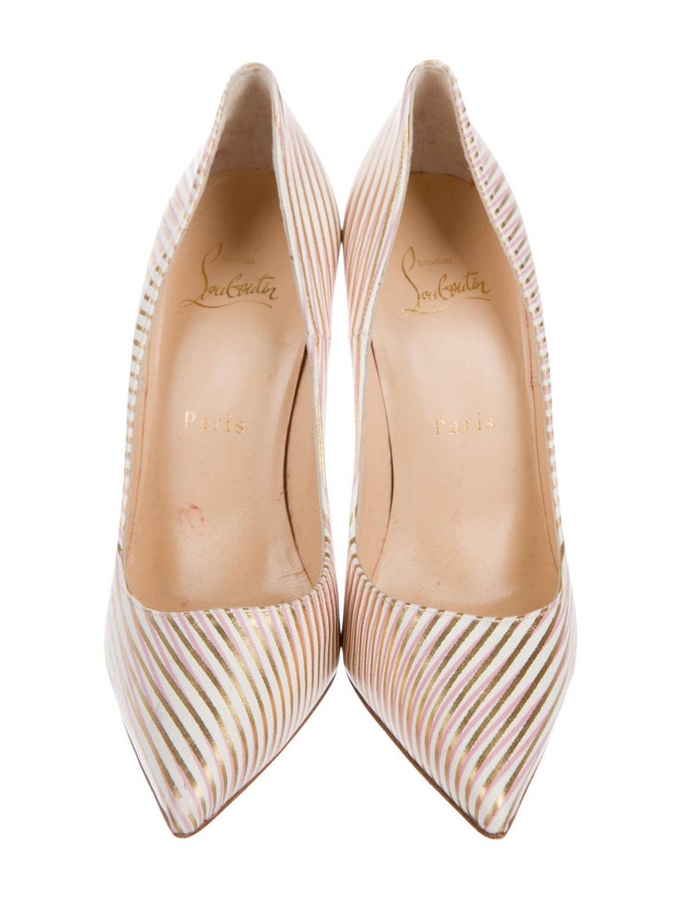 Christian Louboutin NEW Pink White Gold Stripe Leather Pumps Heels In New Condition In Chicago, IL