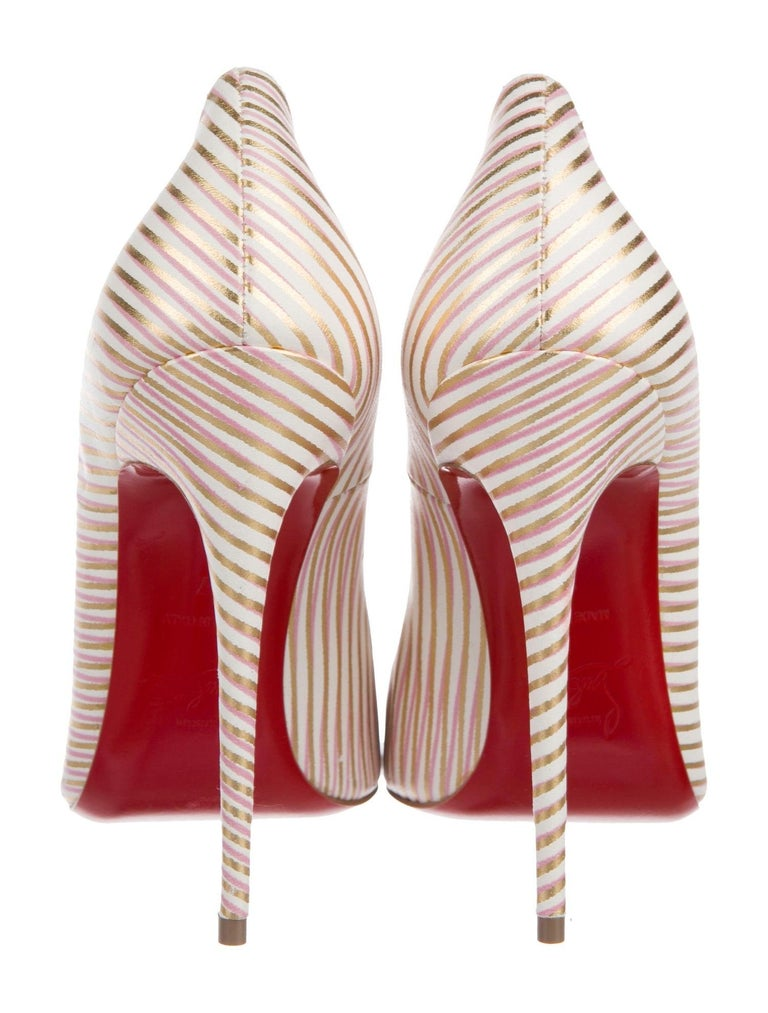 Women's Christian Louboutin NEW Pink White Gold Stripe Leather Pumps Heels