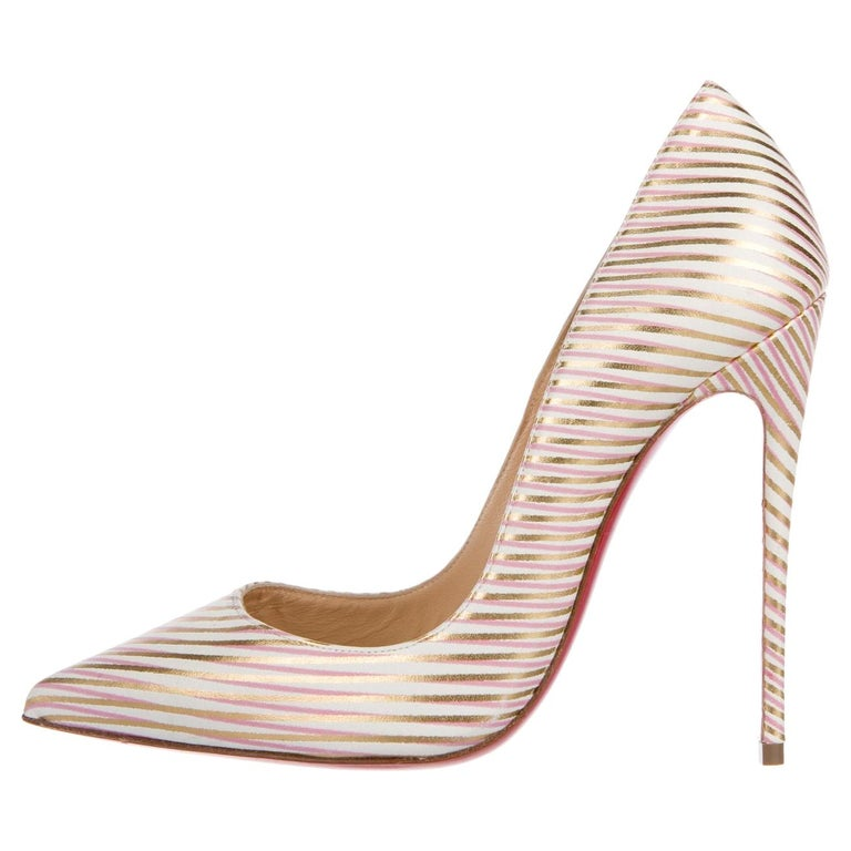 Christian Louboutin NEW Pink White Gold Stripe Leather Pumps Heels