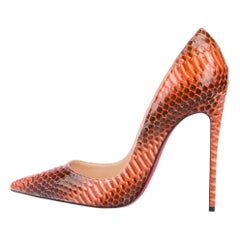 Christian Louboutin NEW Python Burnt Orange Brown Evening Heels Pumps