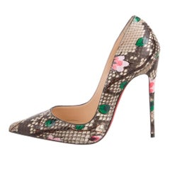 Christian Louboutin NEW Python Exotic Nude Floral Flower Evening Heels Pumps