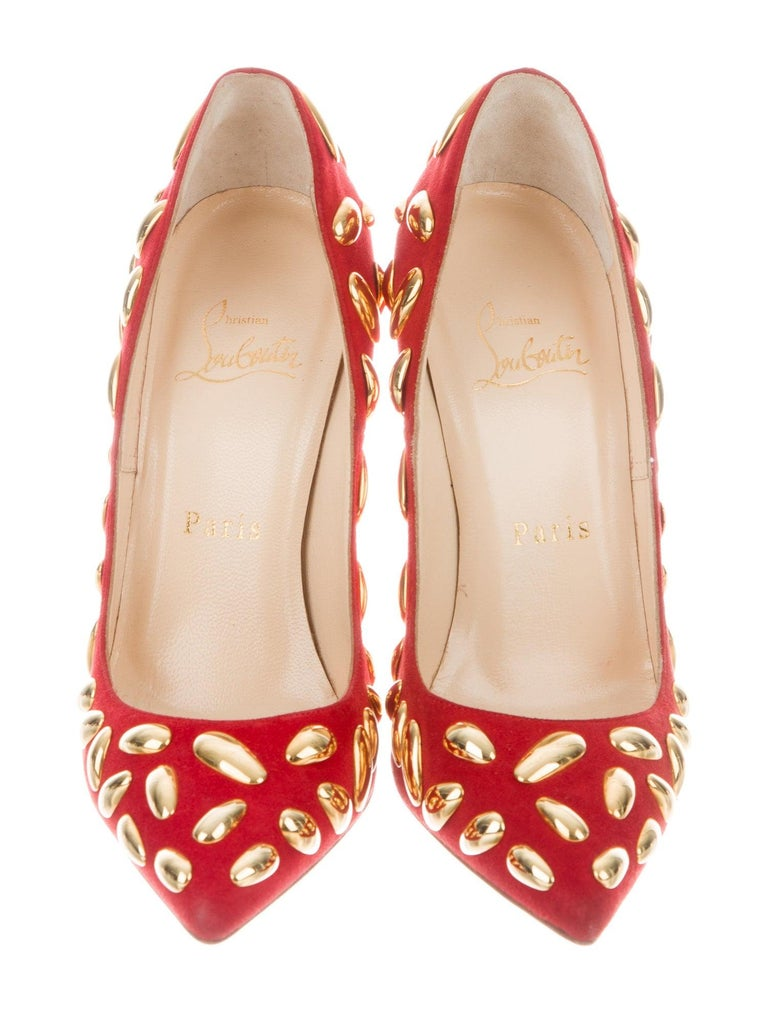 Pink Christian Louboutin NEW Red Suede Gold Metal Evening Heels Pumps