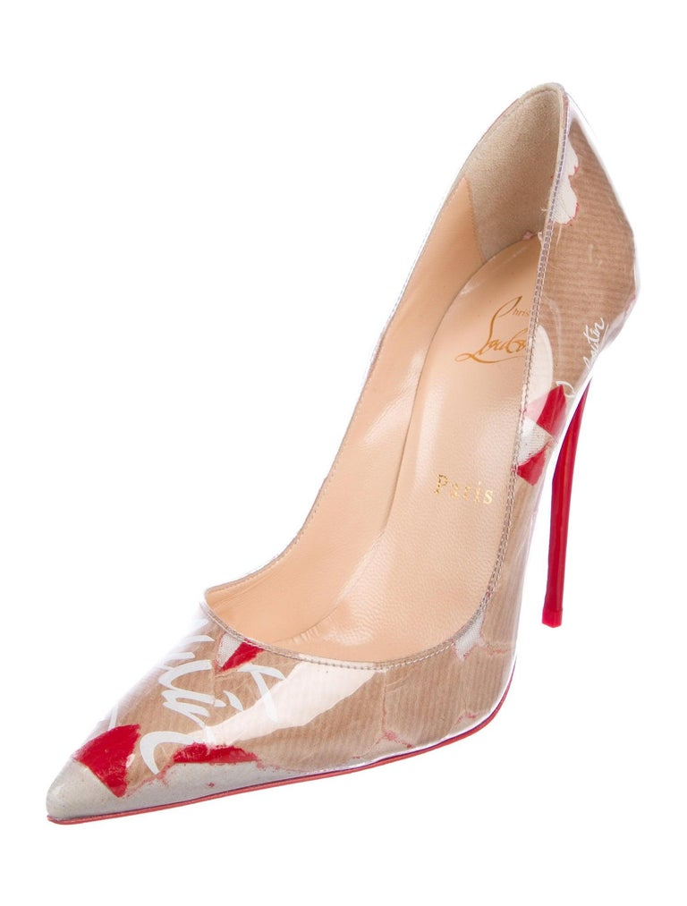 Christian Louboutin NEW Red Tan Patent Leather Kate Evening High Heels Pumps In New Condition For Sale In Chicago, IL