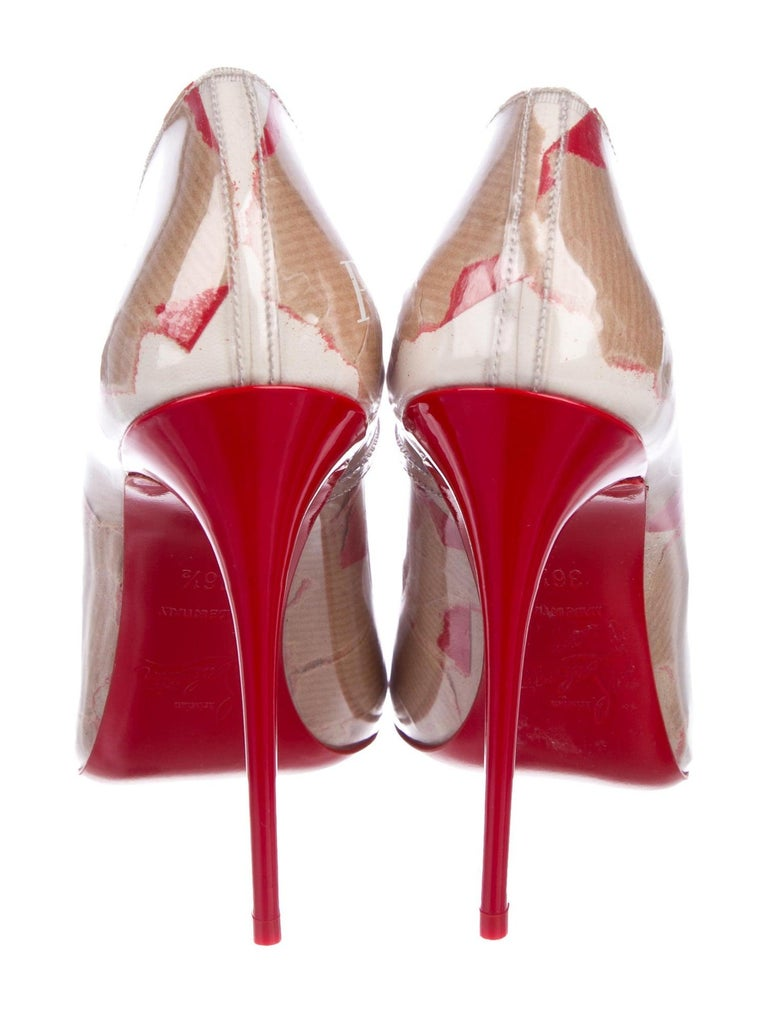 Women's Christian Louboutin NEW Red Tan Patent Leather Kate Evening High Heels Pumps For Sale