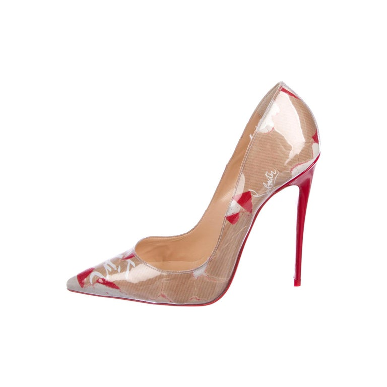 Christian Louboutin NEW Red Tan Patent Leather Kate Evening High Heels Pumps For Sale