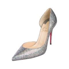 Christian Louboutin NEW Silver Iridescent Glitter Evening Heels Pumps in Box