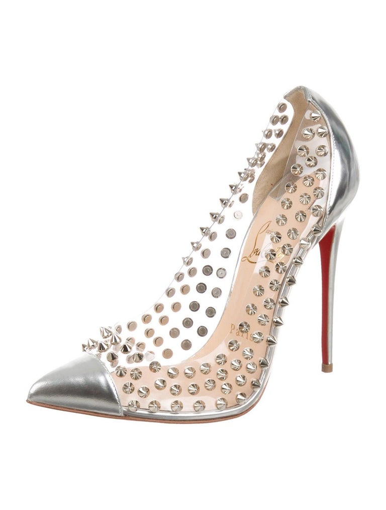 Christian Louboutin NEW Silver Leather PVC Clear Metal Pumps Heels in Box  Size IT 37.5 Leather PVC Metal Silver tone hardware Slip on Made in Italy Heel height 4.5