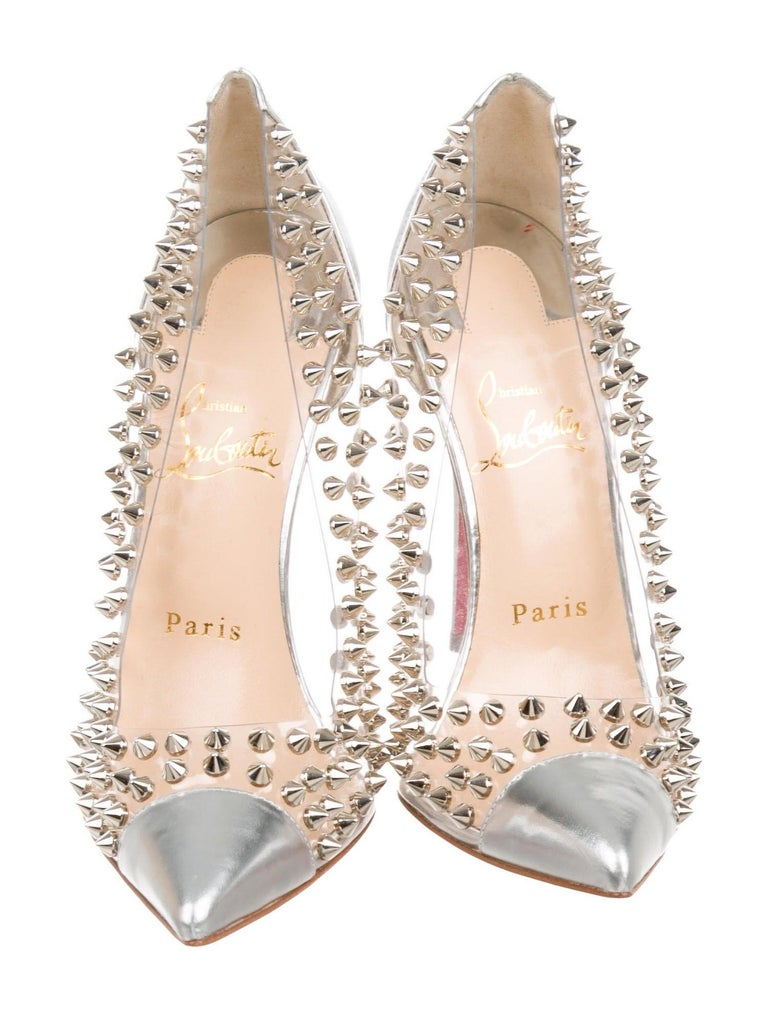 Christian Louboutin NEW Silver Leather PVC Clear Metal Pumps Heels in Box In New Condition In Chicago, IL