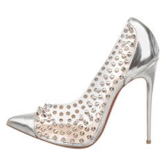 Christian Louboutin NEW Silver Leather PVC Clear Metal Pumps Heels in Box