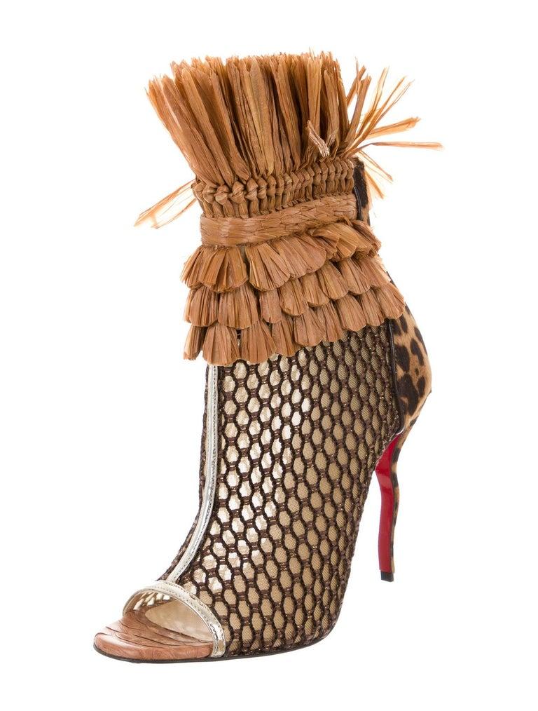 Christian Louboutin NEW Snakeskin Mesh Pony Raffia Open Ankle Booties Boots  Size IT 39 Snakeskin Mesh  Ponyhair  Raffia Zip closure Made in Italy Heel height 4.5