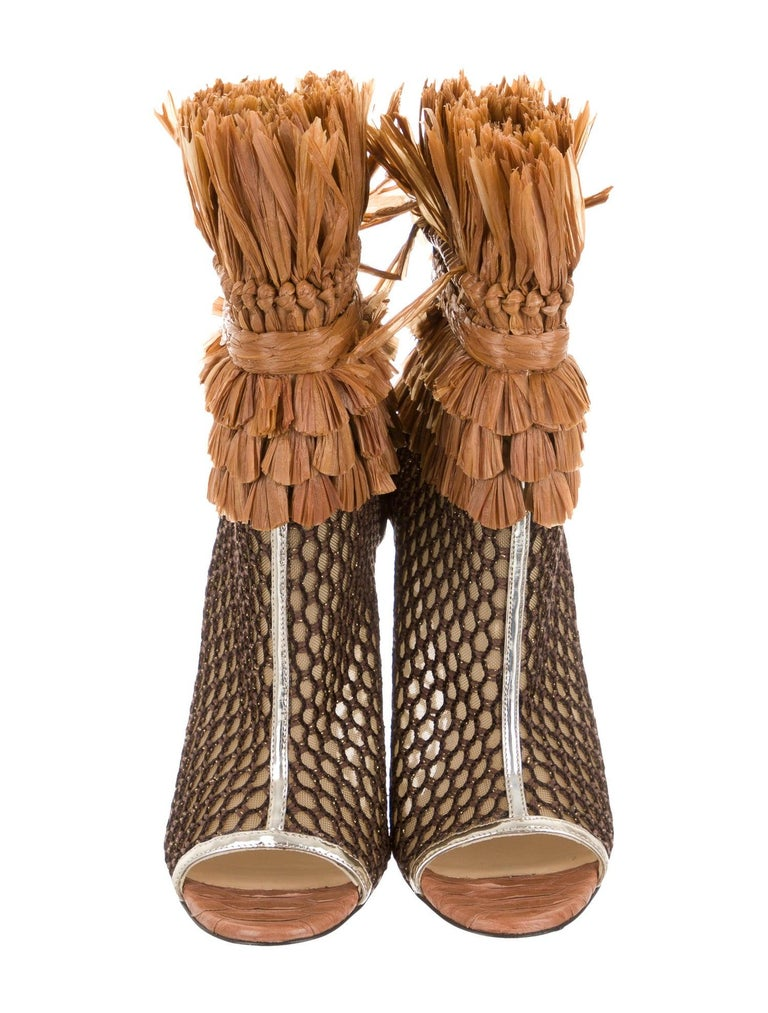 Brown Christian Louboutin NEW Snakeskin Mesh Pony Raffia Open Ankle Booties Boots