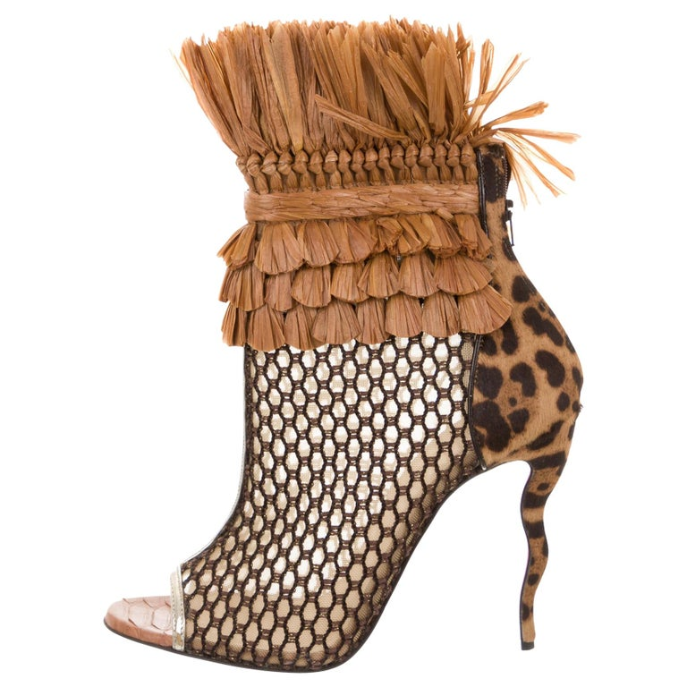 Christian Louboutin NEW Snakeskin Mesh Pony Raffia Open Ankle Booties Boots
