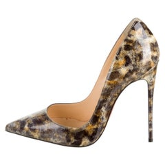Christian Louboutin NEW Tan Nude Gold Black Patent Evening Heels Pumps in Box