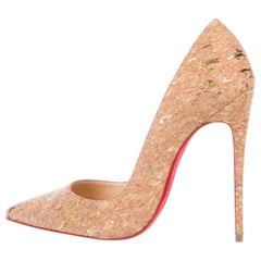 Christian Louboutin NEW Tan Nude Gold Cork So Kate Evening Heels Pumps in Box