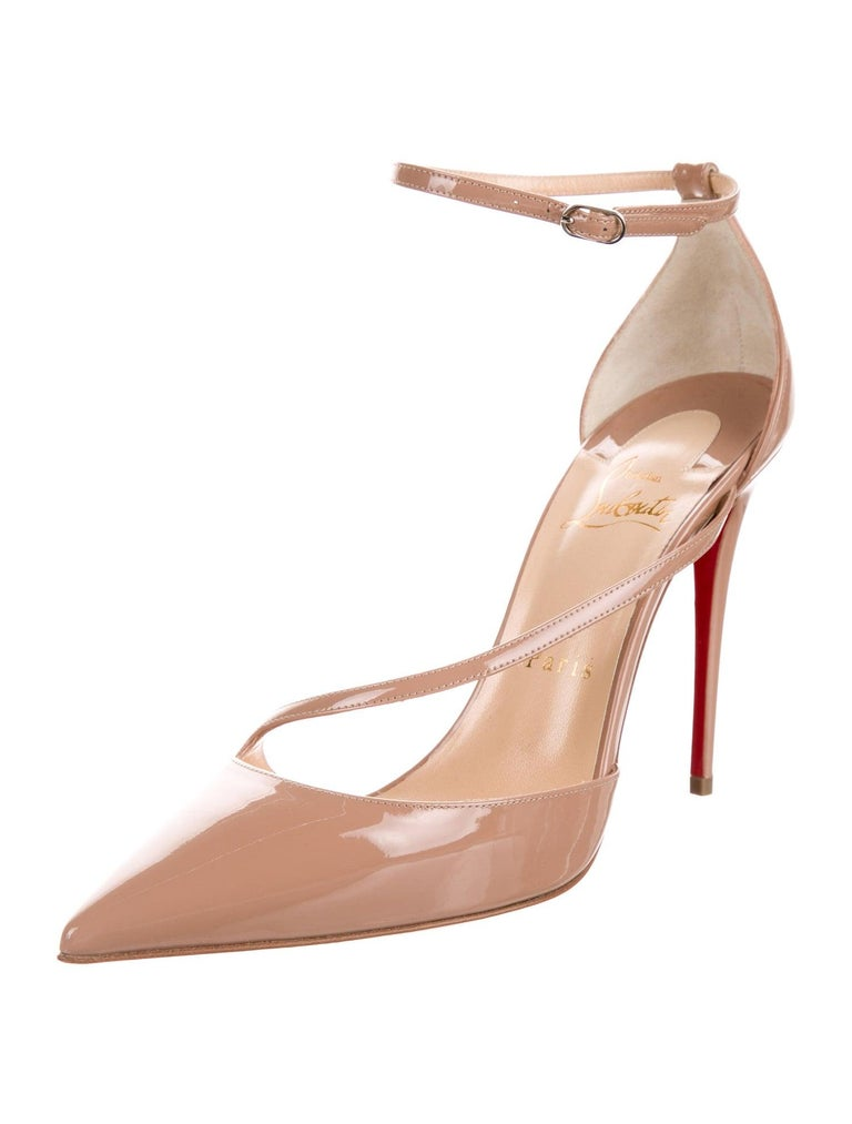 Christian Louboutin NEW Tan Nude Patent Leather Fliketta Strappy Pumps Heels in Box  Size IT 38 Patent leather Ankle buckle closure Made in Italy Heel height 4.25