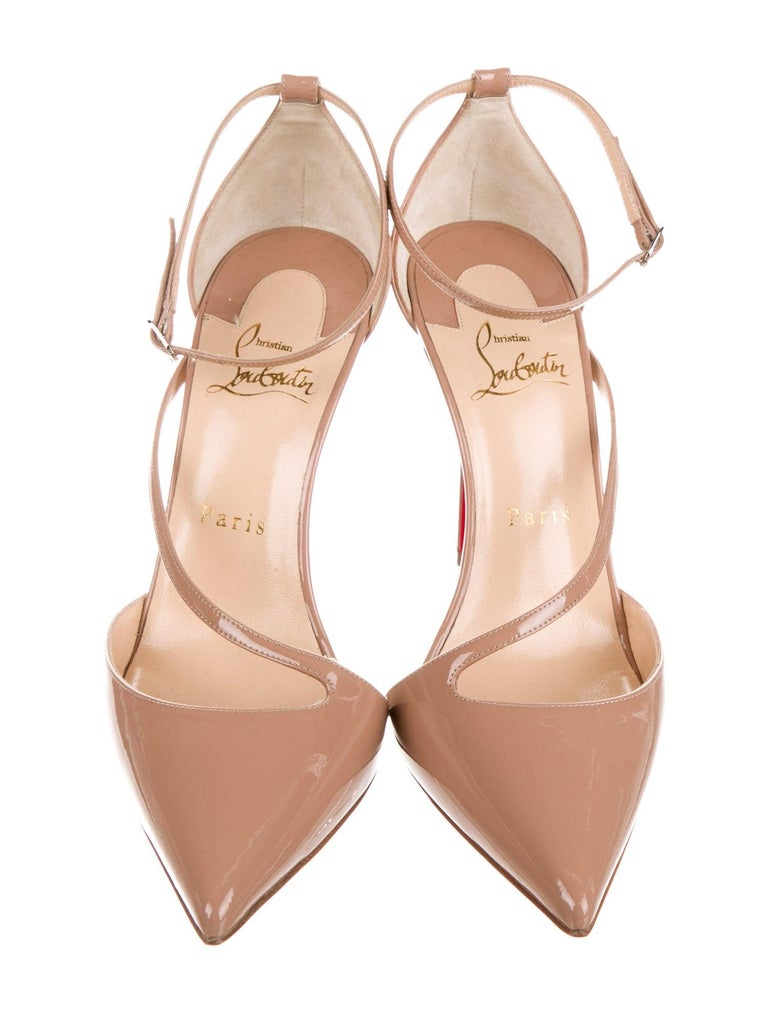 Christian Louboutin NEW Tan Nude Patent Leather Strappy Pumps Heels in Box In New Condition For Sale In Chicago, IL