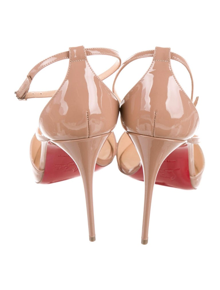 Women's Christian Louboutin NEW Tan Nude Patent Leather Strappy Pumps Heels in Box For Sale