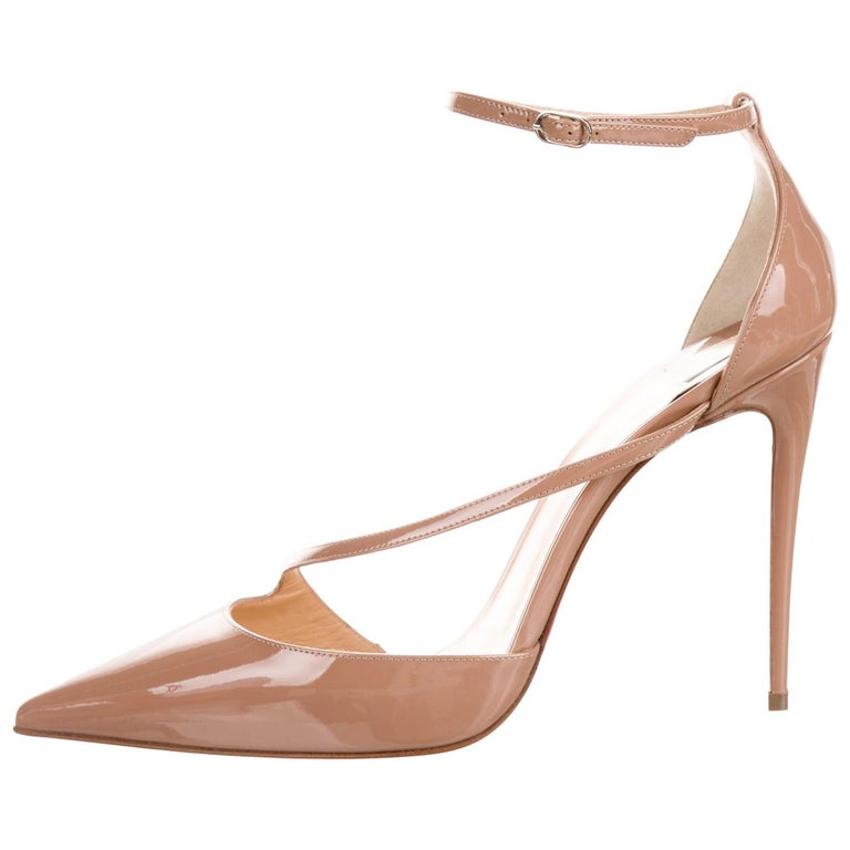 Christian Louboutin NEW Tan Nude Patent Leather Strappy Pumps Heels in Box For Sale