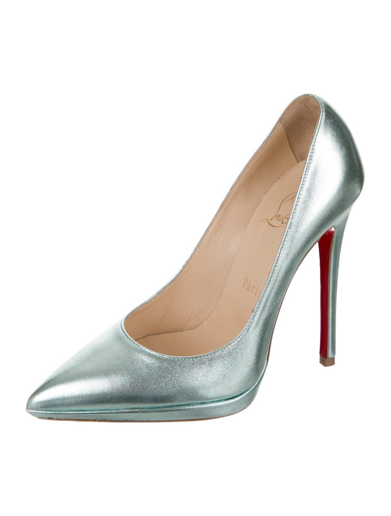 Christian Louboutin NEW Teal Green Leather Platform Pumps Heels  Size IT 36 Leather Slip on Made in Italy Heel height 5