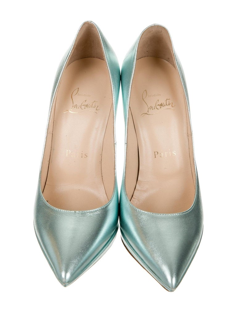 Christian Louboutin NEW Teal Green Leather Platform Pumps Heels In New Condition For Sale In Chicago, IL