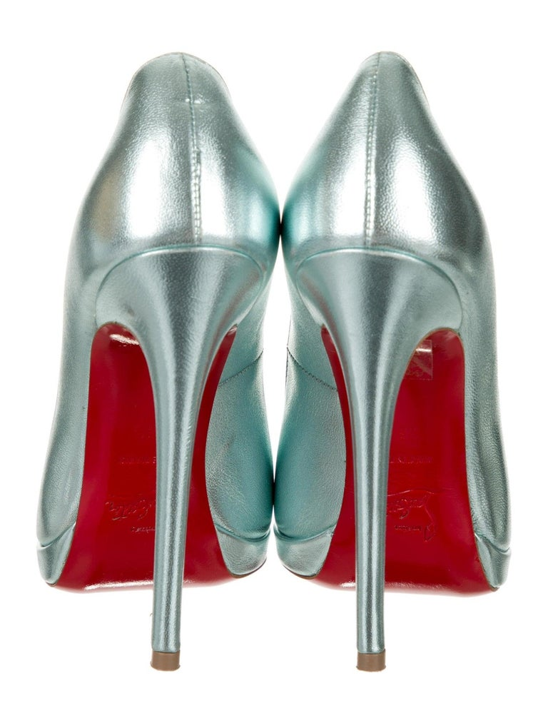 Women's Christian Louboutin NEW Teal Green Leather Platform Pumps Heels For Sale