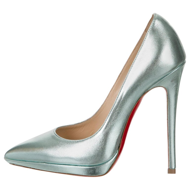 Christian Louboutin NEW Teal Green Leather Platform Pumps Heels For Sale