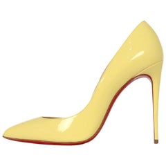 Christian Louboutin New Yellow Patent Leather Pigalle Follies 100 sz 39 rt $695