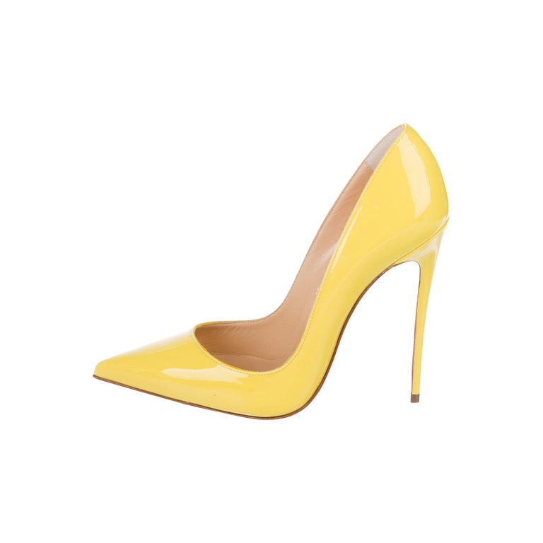 Christian Louboutin NEW Yellow Patent Leather So Kate High Heels Pumps in Box