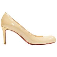 CHRISTIAN LOUBOUTIN nude beige patent almond round toe pump EU36