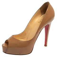 Christian Louboutin Nude Beige Patent Leather New Peep Toe Platform Pumps 37.5