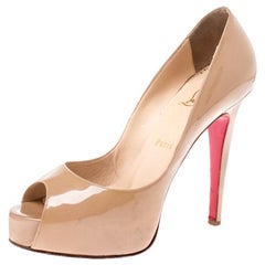 Christian Louboutin Nude Beige Patent Leather New Very Prive Pumps Size 37