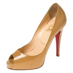 Christian Louboutin Nude Beige Patent Leather Peep Toe Very Prive Pump Size 36