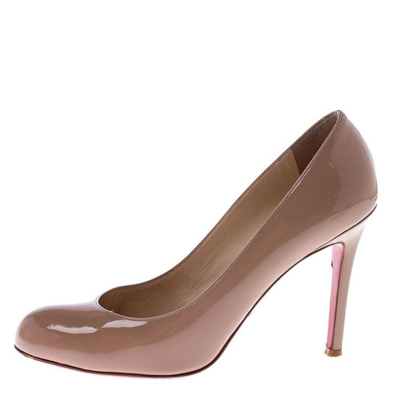 Christian Louboutin Nude New Simple 100 Beige Patent