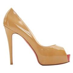CHRISTIAN LOUBOUTIN nude patent hidden red platform peep toe heel pump EU39.5