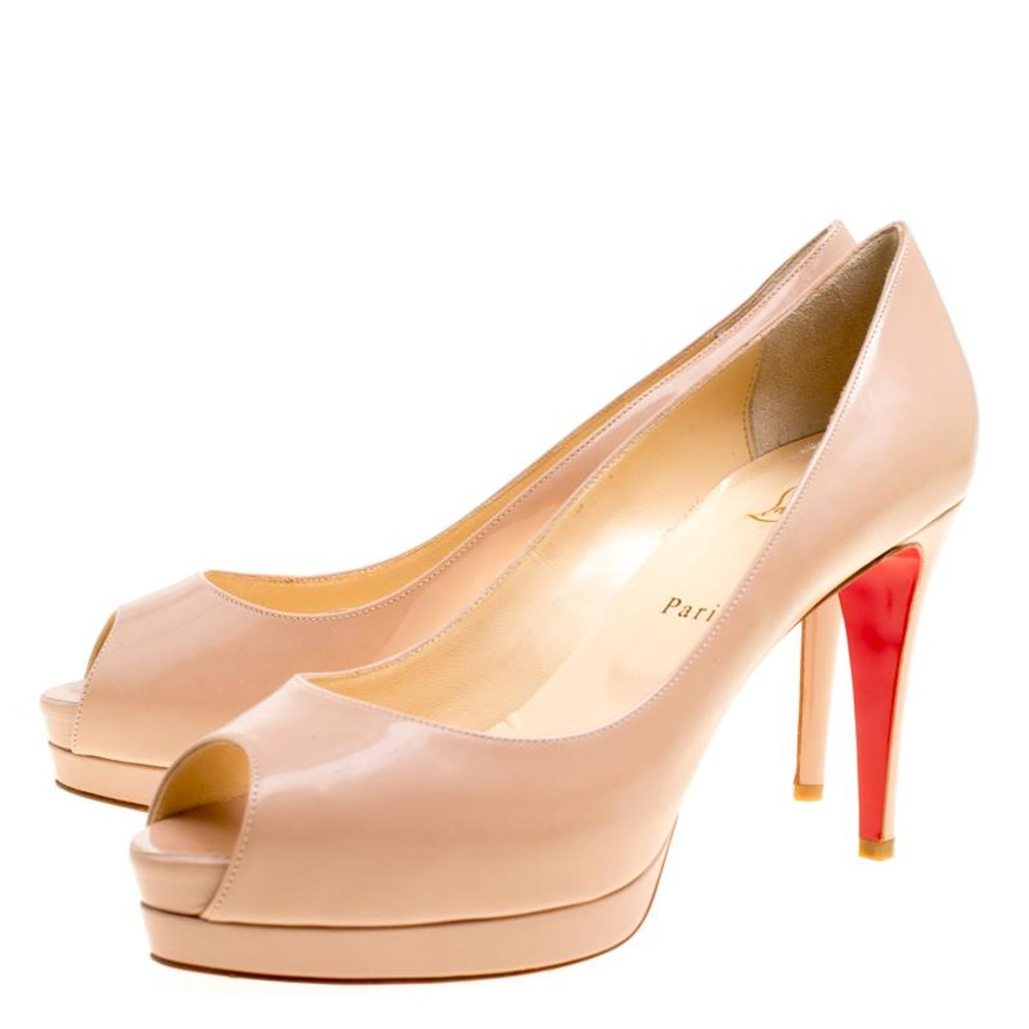 bdb763c9ad Christian Louboutin Nude Patent Leather Altadama Platform Pumps Size 40 For  Sale at 1stdibs